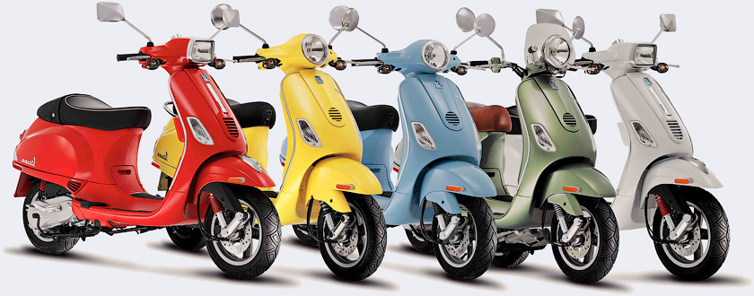 Современные мотороллеры Vespa - История итальянских мотороллеров Vespa