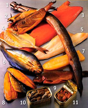 Ассортимент копченой рыбы