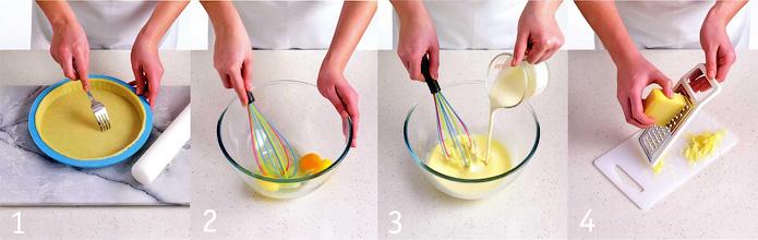 Как испечь основу и начать готовить начинку - Киш с грюйером и зеленью