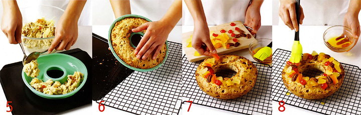Выпекание и украшение кекса - Кекс-кольцо с фруктами