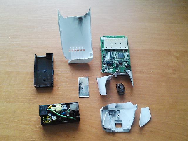 Что осталось от антенны Nanostation M5 loco, после грозы