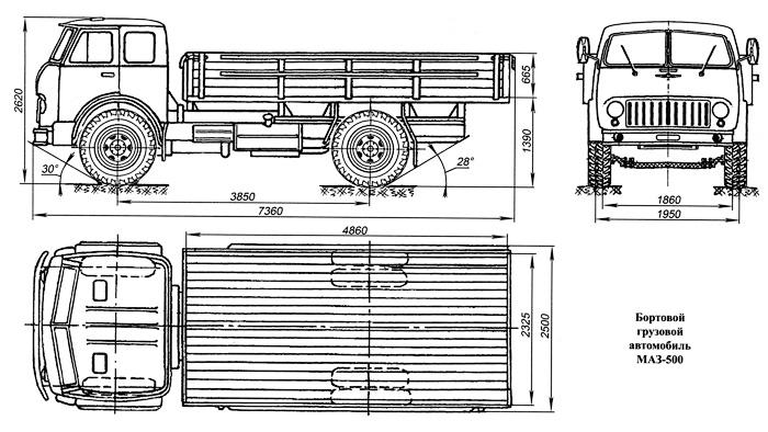 Бортовой грузовой автомобиль МАЗ-500 - Первые «бескапотники» - Автомобиль МАЗ-500