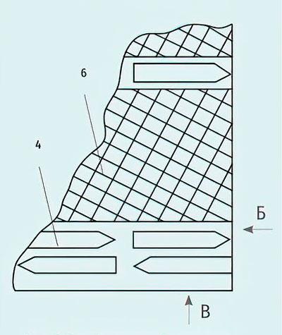 Рис. 5. Вид В гвоздевой пластины - Улучшители для авто- и железных дорог