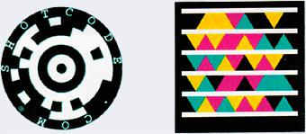 Пример штрихкодов, слева - ShotCode, справа - Microsoft Tag - Заштрихуи и закодируй! Матричные обозначения в быту - Форум Сириус - Торез