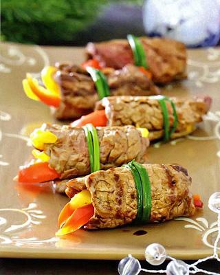 Рулетики из говядины со сладким перцем