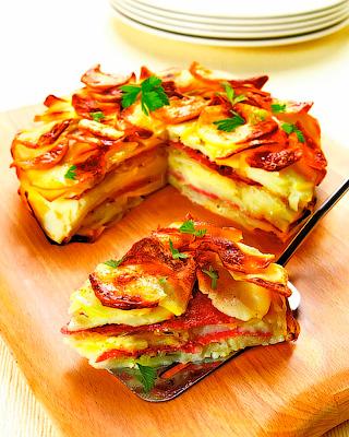Картофельный пирог с салями