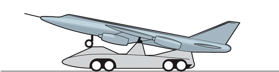 Тележка с шинными колесами - Точечный старт - самолет-снаряд