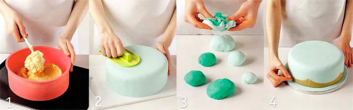 Как испечь и покрыть мастикой торт? - Торт с цветами и оборками