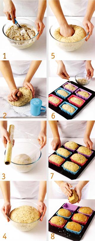 Как месить тесто второй подход и выпекание - Зерновой порционный хлеб