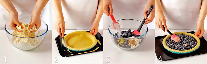 Приготовление теста и начинки - Черничный пирог