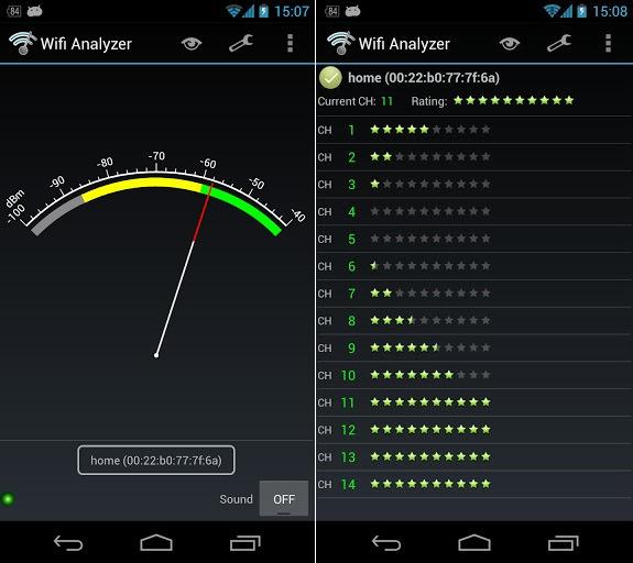 Определение лучшего канала утилитой Wi-Fi Analyzer
