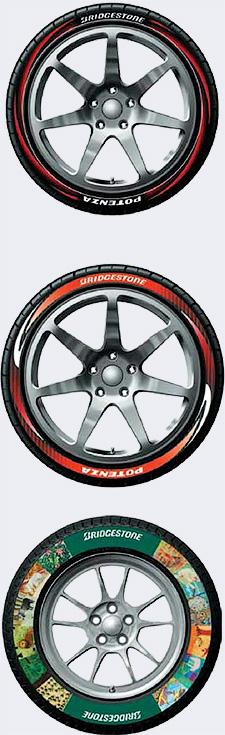 Шины с цветным рисунком Bridgestone - Революция в шинных разработках. Разукрашенные противоугонные покрышки из одуванчиков - Форум Сириус - Торез