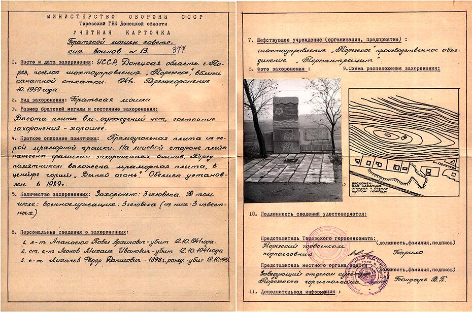 Братская могила - г. Торез, п. Шахтоуправления «Торезское», около канатной откатки