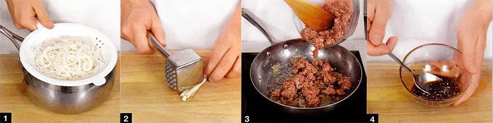Салат из свиного фарша с рисовой лапшой