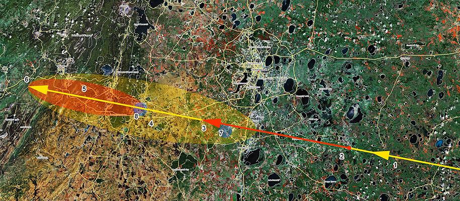Траектория движения метеорита - Почему падают метеориты