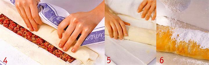 Сворачивание и выпекание штруделя - Штрудель с орехами