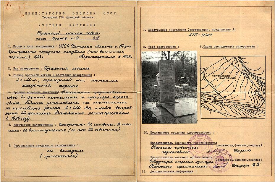 Братская могила - г. Торез, Центральное городское кладбище, юго-восточная окраина