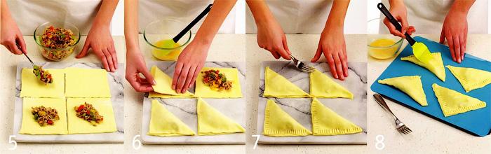 Формовка и наполнение пирожков - Пирожки с мясом и перцем