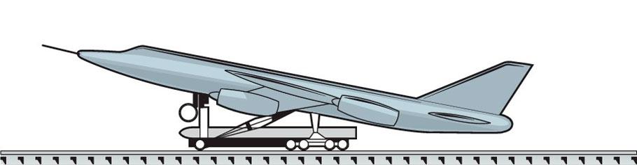 Тележка на рельсовом пути - Точечный старт - самолет-снаряд