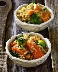 Теплый салат с тыквой  брокколи и булгуром